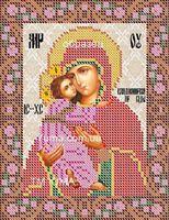 Божия Матерь Владимирская ЮМА-552 Схема с рисунком для частичной вышивки бисером на атласе