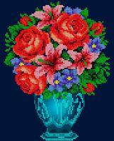 Букет с розами, ЧВ-3090 схема-рисунок (полноцветная) на атласе для вышивания бисером(нитками)