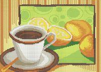 Чай с лимоном схема для вышивки бисером на ткани А3-0199