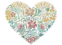 Цветочное сердце А3-0433 схема для вышивки бисером