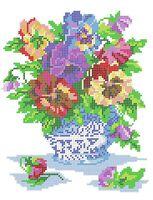 Цветы схема для вышивки бисером на ткани А4-0183