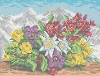 Цветы в Альпах А4-0251 схема вышивки бисером