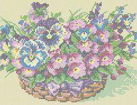 Цветы в корзине схема для вышивки бисером на ткани А4-0354