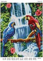 Пара попугаев DANA-3137 схема с рисунком на габардине для полной вышивки бисером