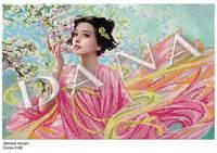 Девушка сакура, DANA-3166 схема с рисунком частичной для вышивки бисером на ткани