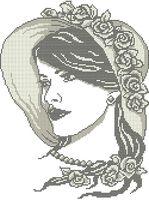 Дама с жемчугом схема для вышивки бисером на ткани А3-0354