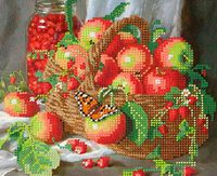 Дары лета. Яблоки, СГ-3001 рисунок-схема для частичной вышивки бисером №10 на габардине