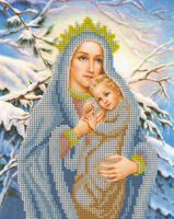 Дева Мария Снежная, БКР-4150 схема с рисунком для вышивки бисером на габардине