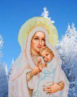 Дева Мария в зимнем лесу схема для вышивки бисером на атласе ЮМА 3103