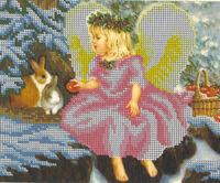 Девочка Ангел с яблоками БКР-4149 схема с рисунком для частичной вышивки бисером на габардине