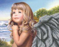Девочка ангел БКР-4152 схема с рисунком для частичной вышивки бисером на габардине формат А-4
