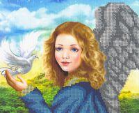 Девочка ангел с голубем БКР-4240 схема с рисунком для частичной вышивки бисером на габардине формат А-4