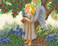 Девочка ангел в лесу БКР-4154 схема с рисунком для частичной вышивки бисером на габардине формат А-4