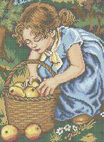 Девочка и яблоки схема для вышивки бисером на ткани А3-0245
