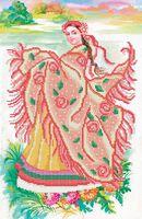 Девушка весна, СКВ-116 схема-рисунок на атласе для вышивки бисером формат картины А-3