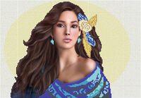 Девушка с цветами схема для вышивки бисером на ткани А3-0178