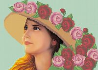 Девушка в шляпе для вышивки бисером на ткани А3-0110