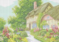 Дом в саду схема для вышивки бисером на ткани А3-0231