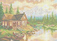 Домик в горах схема для вышивки бисером на ткани А3-0484
