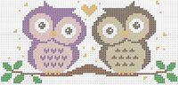 Две совы схема для вышивки бисером на ткани А4-0101
