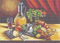 Фруктовый натюрморт А3-0121 схема с рисунком на габардине для полной вышивки бисером