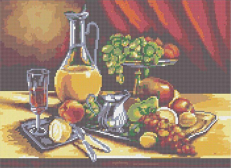 Схема полной вышивки бисером Фруктовый натюрморт А3-0121. В дизайн схемы  входят 19 цветов чешского бисера Preciosa e2be7d60d22e6