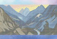 Горный пейзаж схема для вышивки бисером на ткани А3-0471