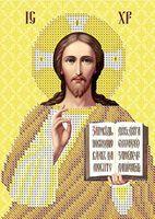 ИИсус Христос ЮМА-51 Схема с рисунком для частичной вышивки бисером на атласе