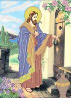 Иисус стучится в дверь схема для вышивки бисером на ткани А3-035