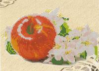 Яблочко, Д-73 схема с рисунком для частичной вышивки бисером на габардине формат А-5