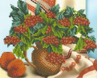 Калина и яблоки, БК-4263 схема-рисунок на габардине для вышивки бисером