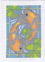Карпы удачи, ЗК-062 схема-рисунок для вышивания бисером ( нитками DMC) на габардине