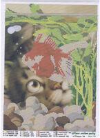 Кися любит рыбку, MIKaA-163 схема-рисунок на габардине для вышивания чешским бисером №10