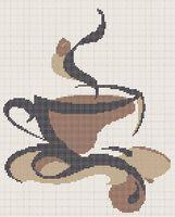 Кофе схема для вышивки бисером на ткани А3-0006