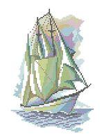 Кораблик схема для вышивки бисером на ткани А4-0141