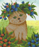 Кошка в ягодах, БК-4200 схема-рисунок на габардине для вышивания бисером