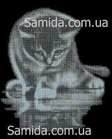 Котик познаватель схема для вышивки бисером на ткани А3-33