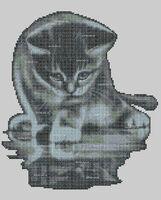Котик познаватель схема для вышивки бисером на ткани А3-34