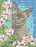 Котик в цветах А4-283 схема с рисунком на габардине для полной вышивки бисером
