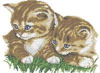 Котята схема для вышивки бисером на ткани А4-0116