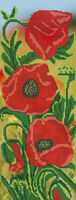 Красные маки, ЮМА-П6 панно схема-рисунок для частичной вышивки бисером на атласе формат А-3