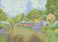 Летний пейзаж А3-0336 схема с рисунком на габардине для полной вышивки бисером