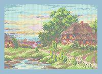 Летний пейзаж схема для полной вышивки бисером А3-0485