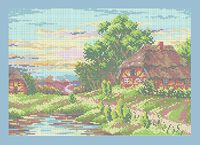 Летний пейзаж А3-0485 схема с рисунком на габардине для полной вышивки бисером