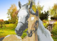 Лошади на лужайке А3-0099 схема с рисунком на габардине для частичной вышивки бисером