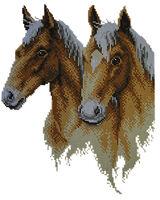 Лошади, А3-34 схема на габардине для вышивки бисером №10