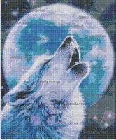 Лунный волк схема для вышивки бисером на ткани А3-36