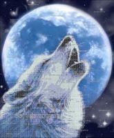 Лунный волк схема для вышивки бисером на ткани А3-37