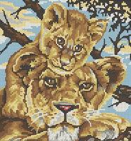Львёнок и мама, МИКаА-313 схема-рисунок для вышивки бисером на ткани