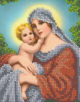 Мадонна с младенцем - Схема с рисунком для частичной вышивки бисером на ткани БКР-5176